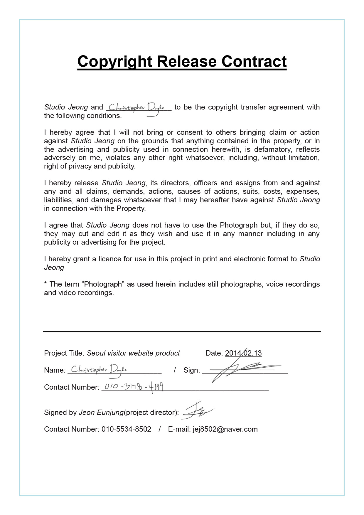 Copyright Release Contract – Photo Copyright Release Forms